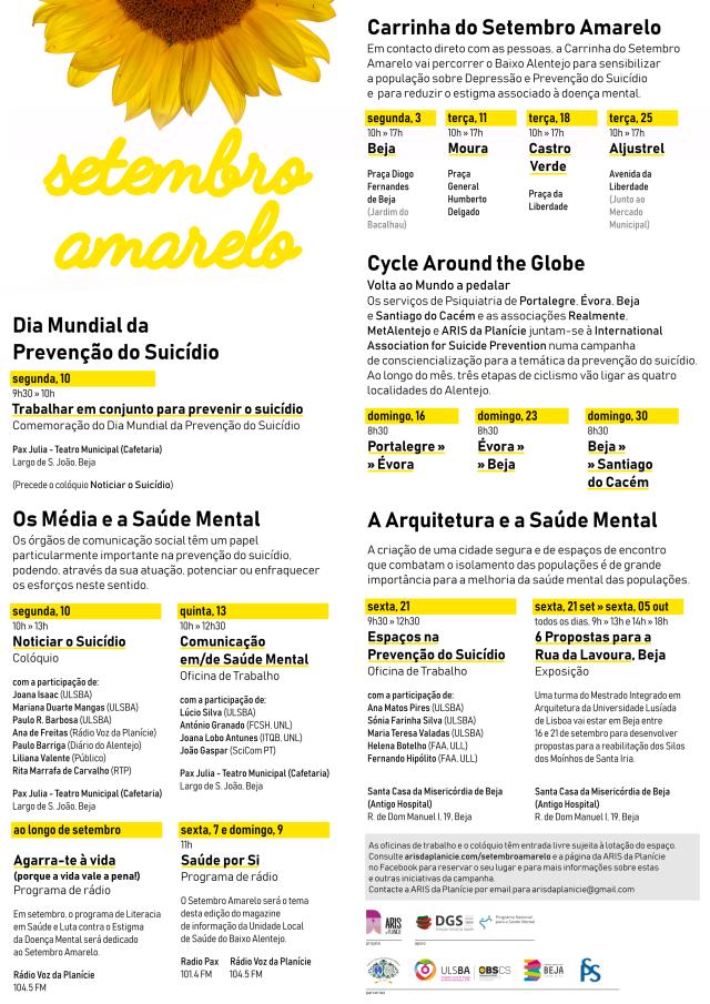 Setembro Amarelo - Beja 2018 - Programa Definitivo